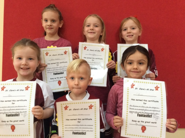 Junior Infants October Assembly winners