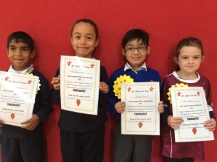 Senior Infants October Assembly winners