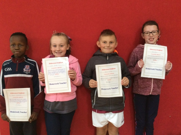 4th Class October Assembly winners