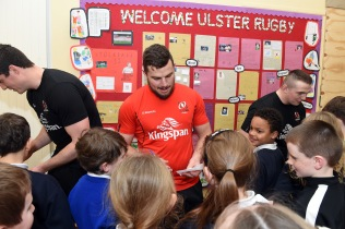 20th March 2019 4th class students from St. Clare's Primary School, Ballyjamesduff in Co Cavan were treated to a Coaching Masterclass from the Ulster Rugby team today. Sean Reidy, Ian Nagle and Tommy O'Hagan were on hand to put the students through their paces having won the competition organised by official Ulster Rugby sponsor, Kingspan.