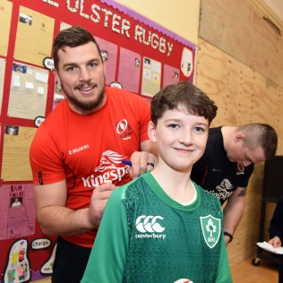 Ulster Rugby Stars Train with St. Clare's
